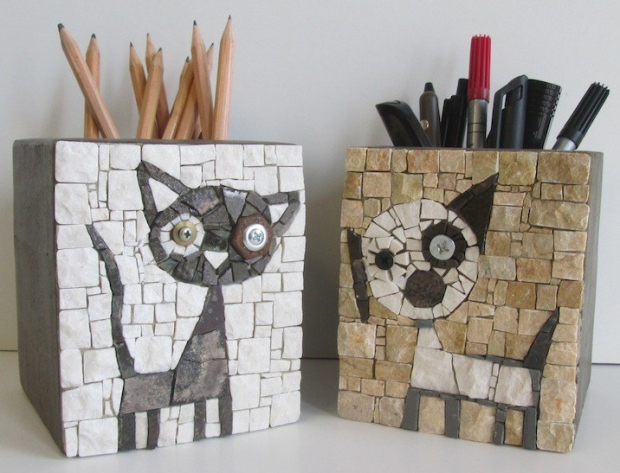 Dog and cat, penholders