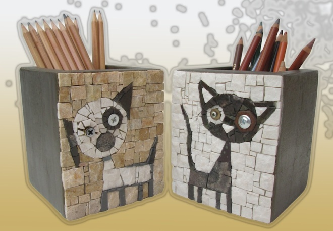 Cane e gatto, pen holders h.12cm