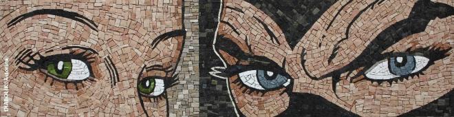 Eva e Diabolik, mosaico con copyright astorina