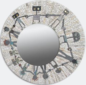 Rolling stones robots, mosaic mirror 54 cm