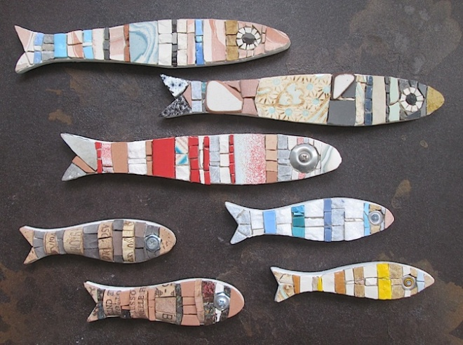 mosaic fish, art magnets