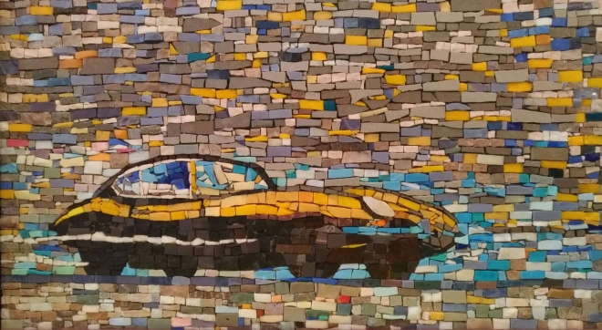 Dettaglio dell'anta a mosaico della URBAN CONSOLLE CLERVILLE