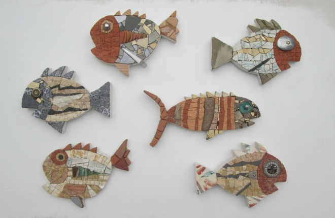 Acquario, 6 recycled fish, 22-29 cm