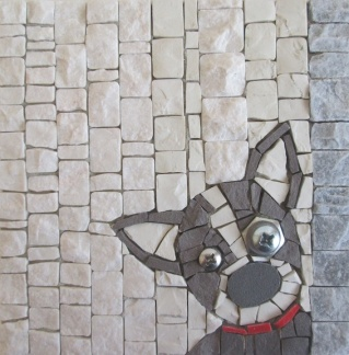 boston terrier, mosaic dog