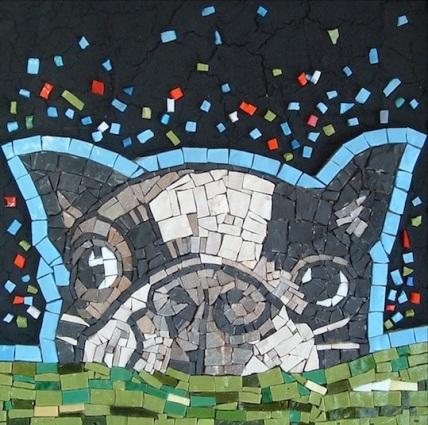Mosaico musetto di Boston Terrier