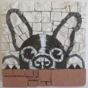 boston terrier, mosaic art