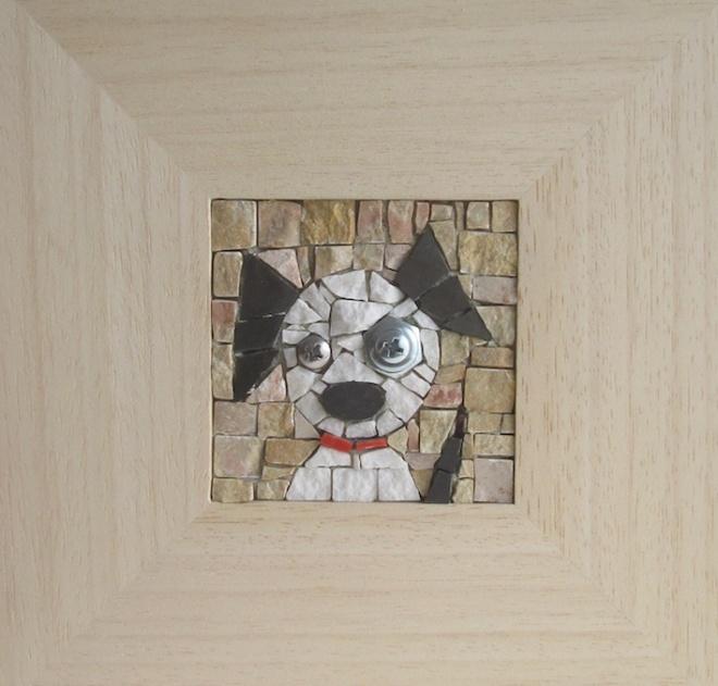 Cagnolino 7x7 mosaico 23x23 cornice