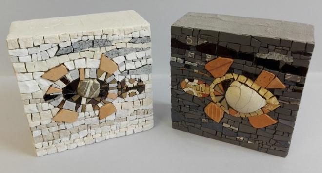 Coppia di tartarughe a mosaico, 15x15 (cm)