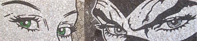 Eva e Diabolik, lunghezza tot 90 cm, mosaico in due parti