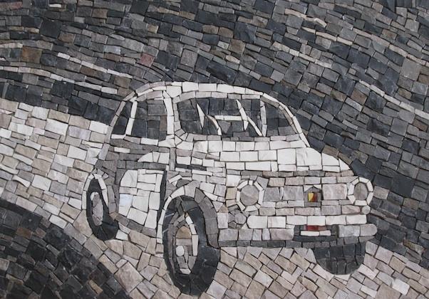Fiat 500 vintage in bianco e nero