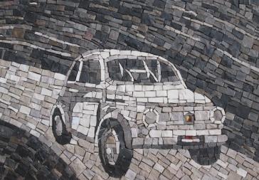 Fiat 500 modello vintage in bianco e nero