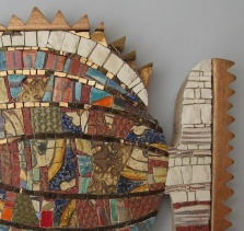 Arlecchino, mosaic fish, detail