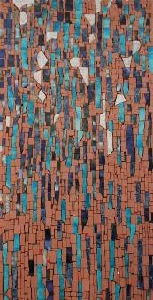 Rain, frammenti di ceramica e tessere di cotto Impruneta
