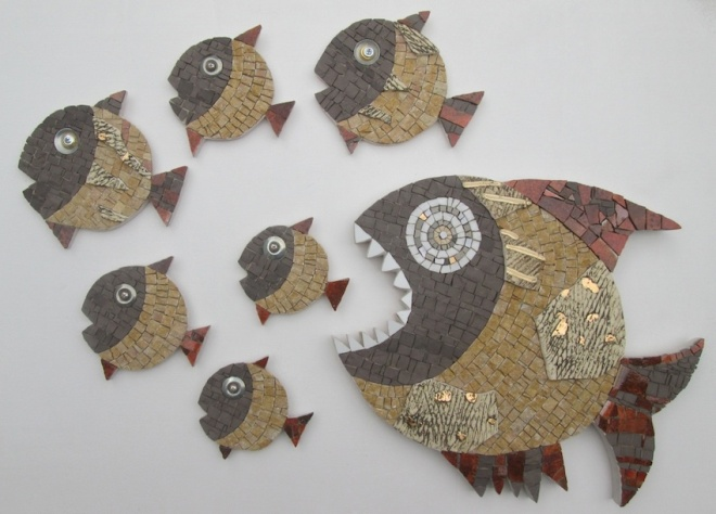 PESCE GRANDE MANGIA PESCI PICCOLI (n.7 mosaics) - 600,oo euro