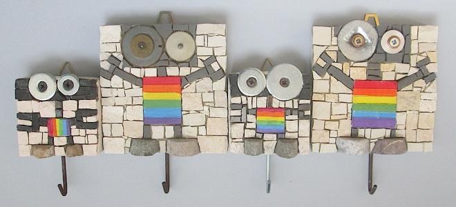 Robottini arcobaleno con gancio, h,8 e 5 cm