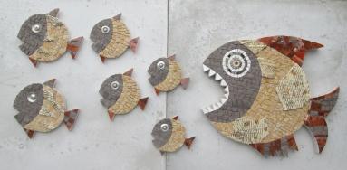 Composizione di 7 pesci a mosaico