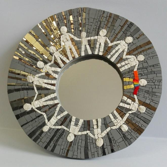 specchio a mosaico, round mirror, mosaic mirror