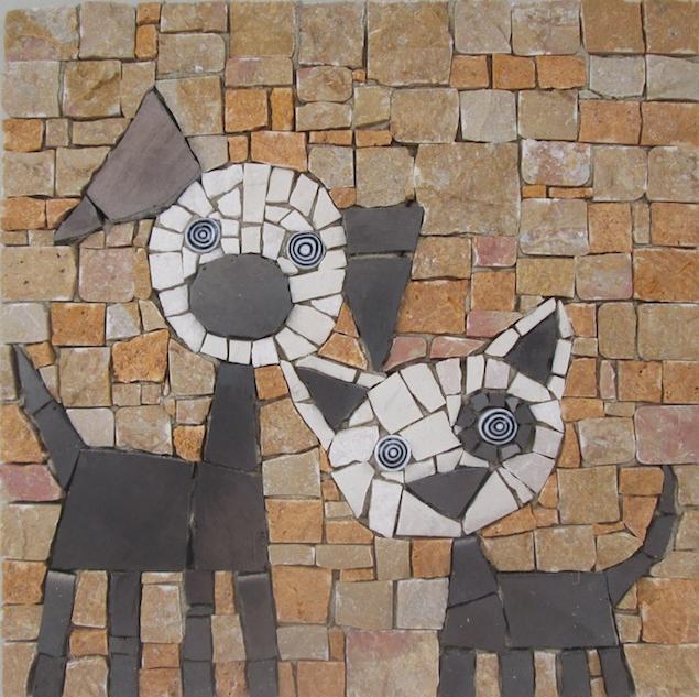 Cane e gatto, formella 5 pollici