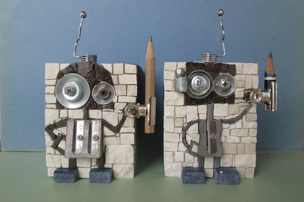 Coppia portapenne robottino