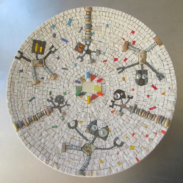 Dance robot, mosaic mandala