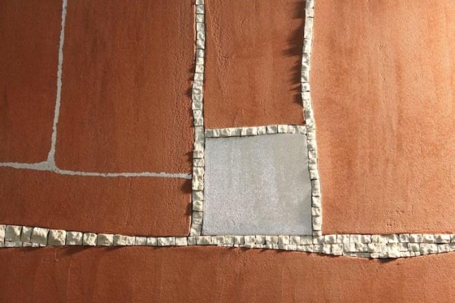 Mosaico, resina cementizia e foglia d'argento