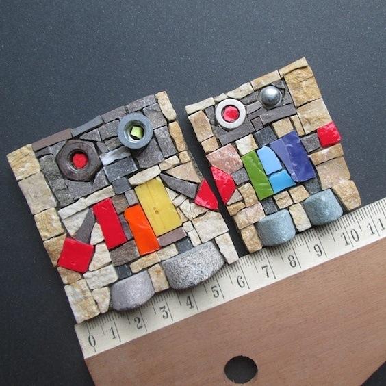 rainbow style, rainbow robots, art magnets