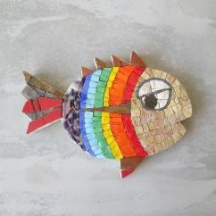 rainbow fish, fish wall art, fish mosaic