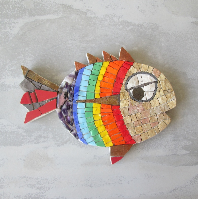 rainbow fish, fish wall art, fish mosaic