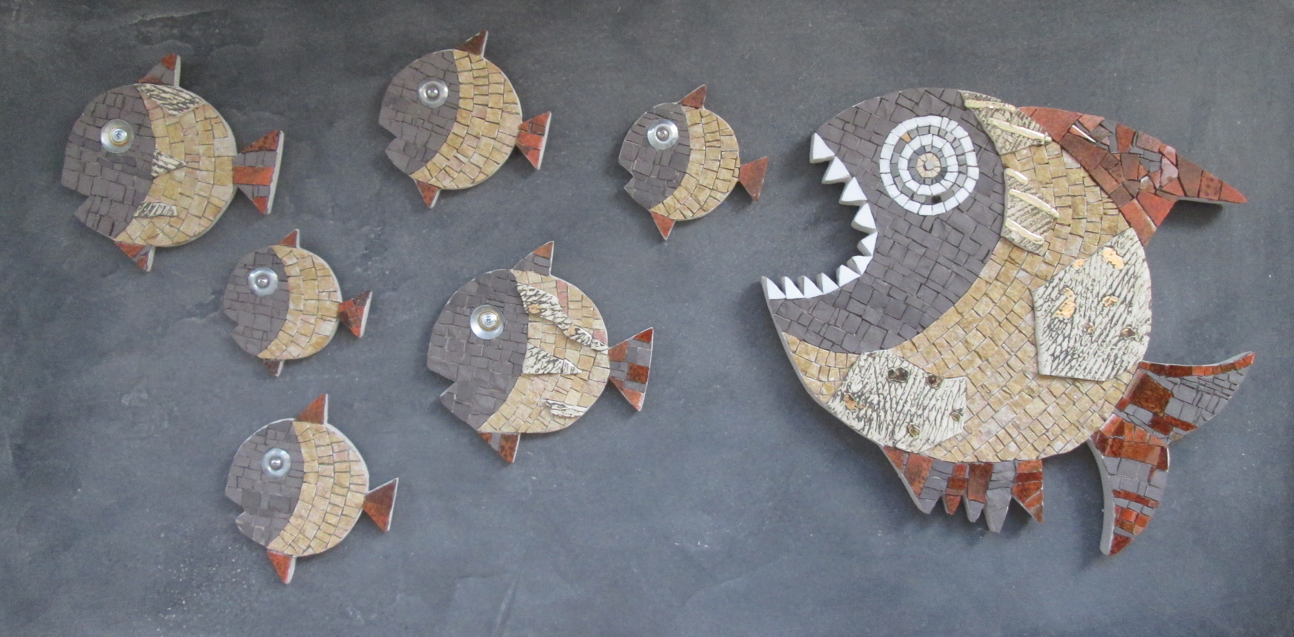 Big fish eat little fish, fish mosaics